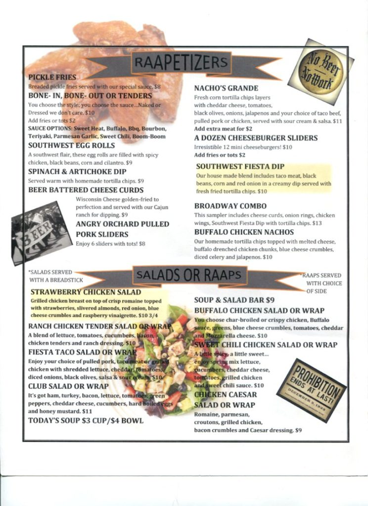 raapers retaurant menu