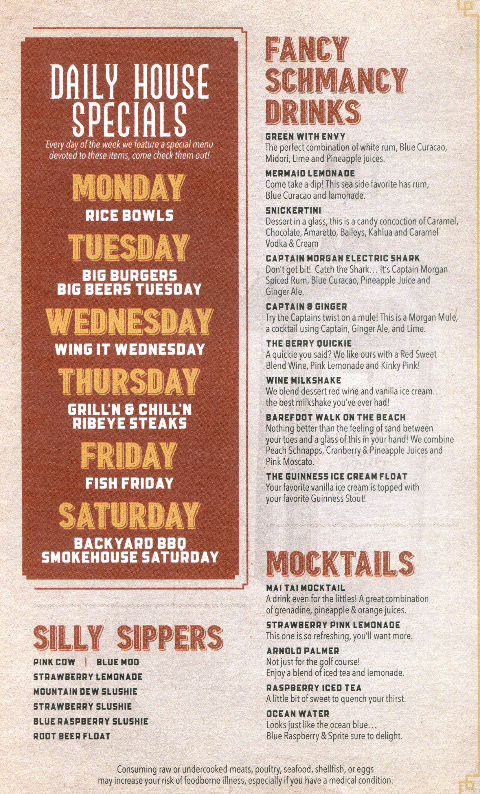 menu raapers daily house specials