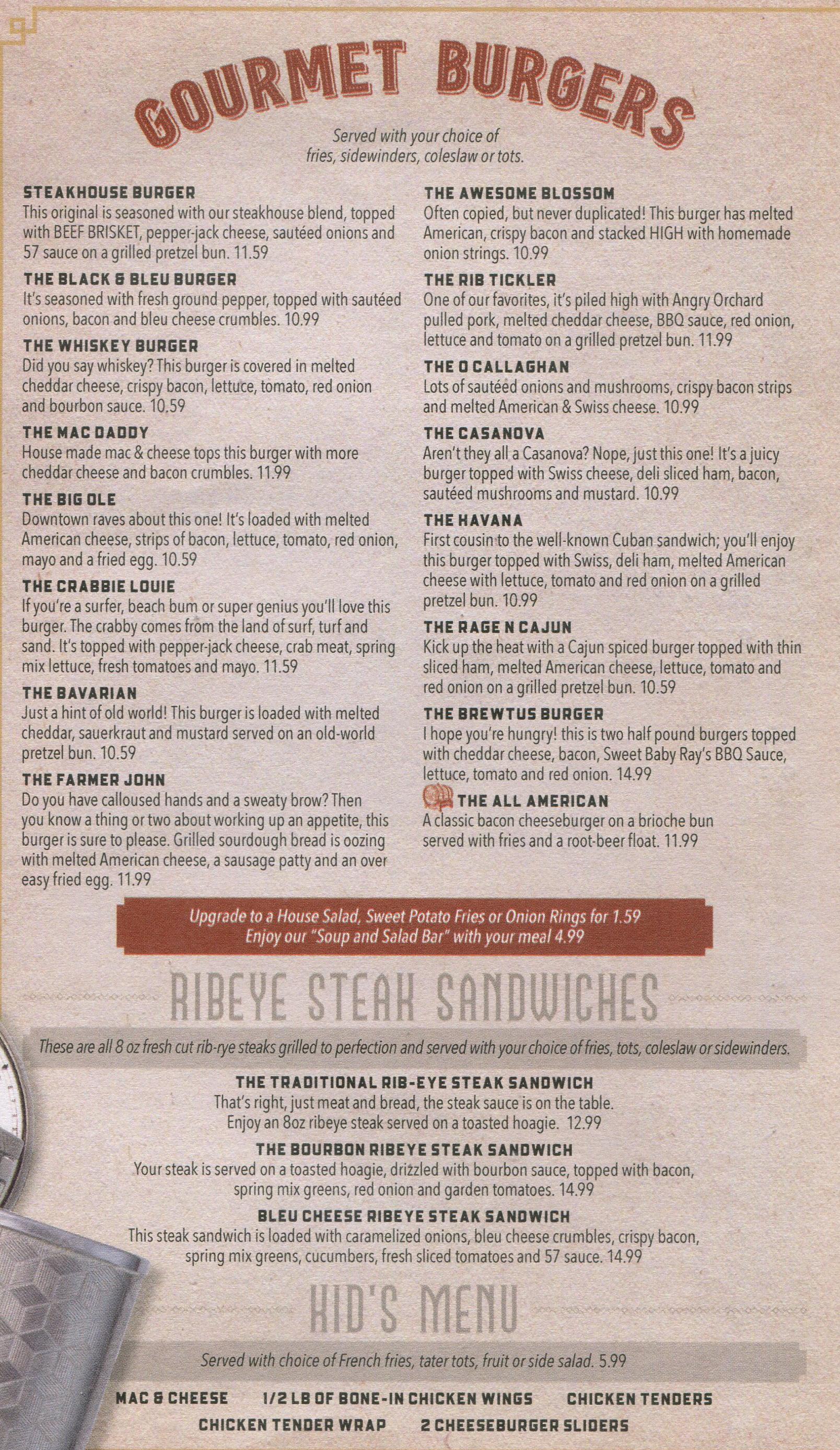 gourmet burgers menu raapers